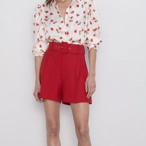 Zara high waisted shorts red small belted NWT